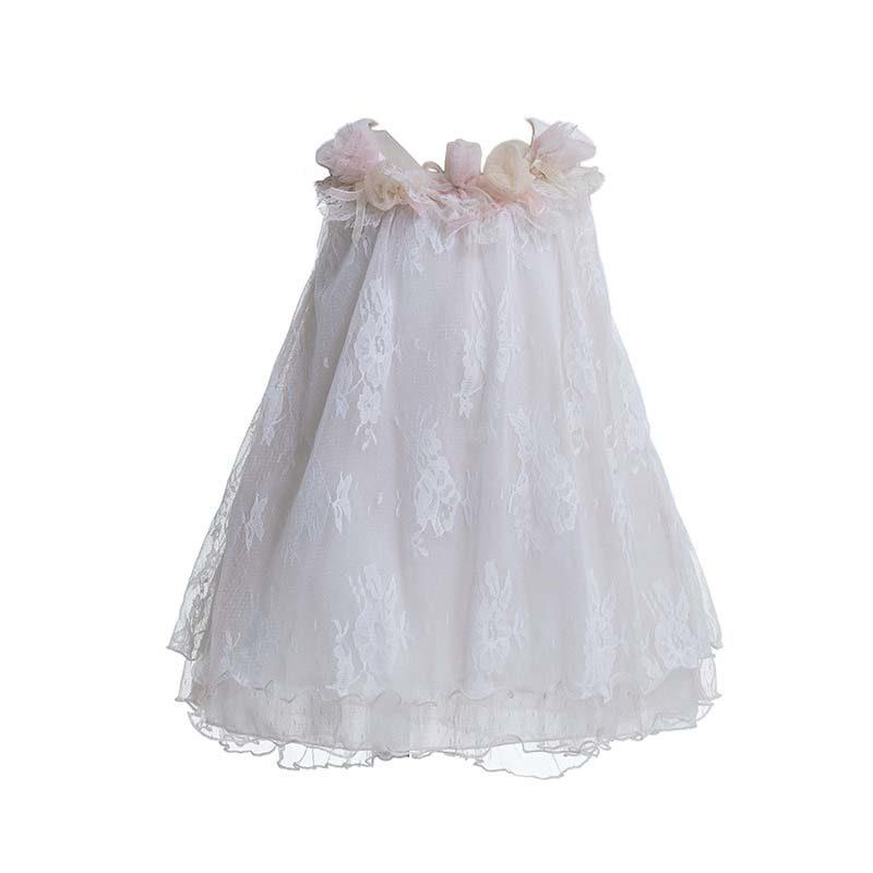 cd47e257187 Φόρεμα επίσημο βαπτιστικό λευκό με ροζ δαντέλα και vintage ανάγλυφα  λουλουδάκια. 14