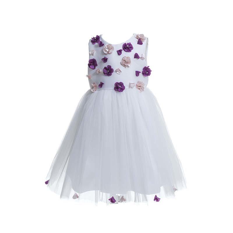 Φόρεμα επίσημο βαπτιστικό σατέν με ανάγλυφα λουλουδάκια και τούλι ... 26c9b5d1b6d