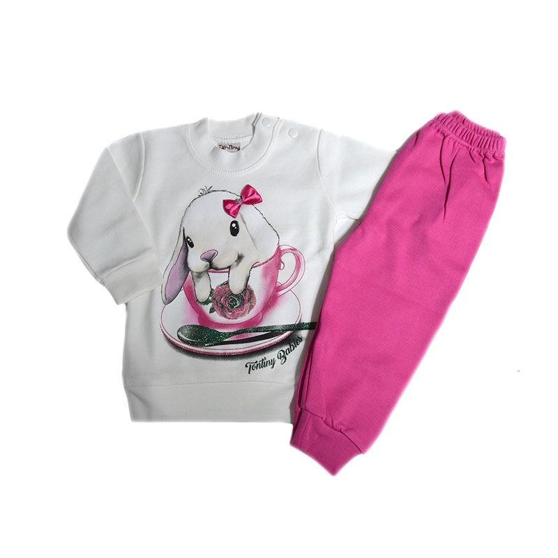 270652468d9 Πυτζάμα μακρυμάνικη λευκή-φούξια σχέδιο λαγουδάκι με φιόγκο – EXTANBEBE