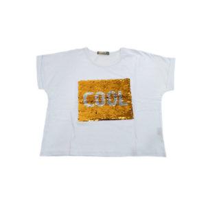 "eacec102ed5 Μπλούζα λευκή κοντομάνικη με παγέτες που γυρίζουν ""COOL"" PROD 61051W"