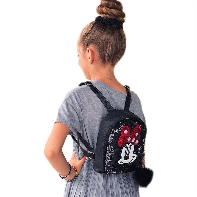 "ba8c53b6d1b Παιδική τσάντα πλάτης μαύρη ""Minnie"" με παγιέτες που αλλάζουν ..."