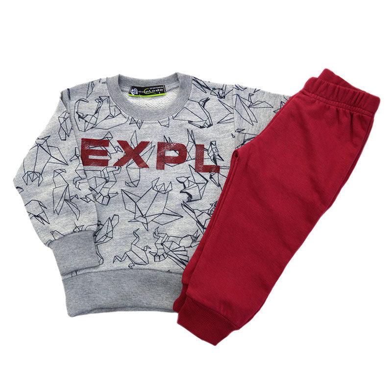 17e0eaf7e90 Σετ φόρμες γκρι μπλούζα με διάφορα σχέδια και κόκκινο παντελόνι Explode  71212G