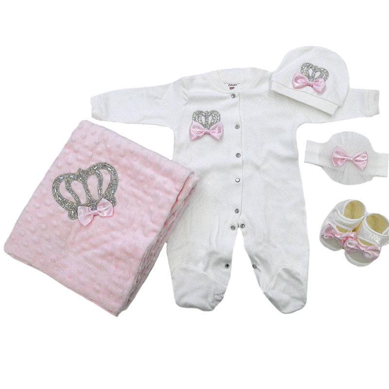 e5dce7bcaee Σετ 5 τεμαχίων για νεογέννητο με κορώνα από στρας και ροζ φιόγκους ...