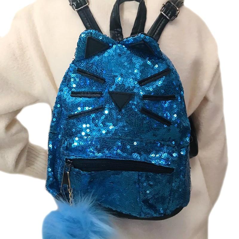 8fc750ef0f2 Παιδική τσάντα πλάτης γαλάζια με παγιέτες σχέδιο γατάκι