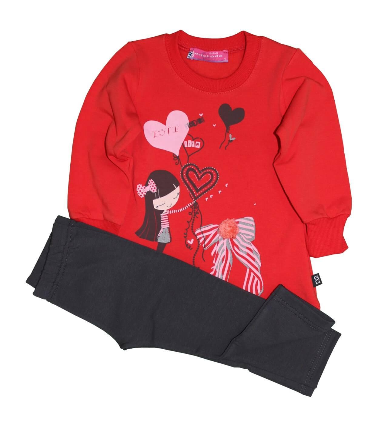 80dbeef4880a Σετ φόρμες κόκκινη μπλούζα σκούρο γκρι παντελόνι σχέδιο LOVE EXPLODE 13169