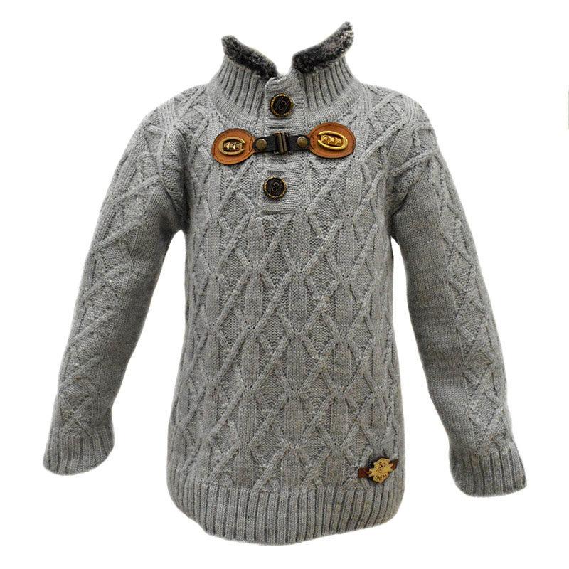 Παιδικό πλεκτό πουλόβερ γκρι με αγκράφα – EXTANBEBE 29038b23aee