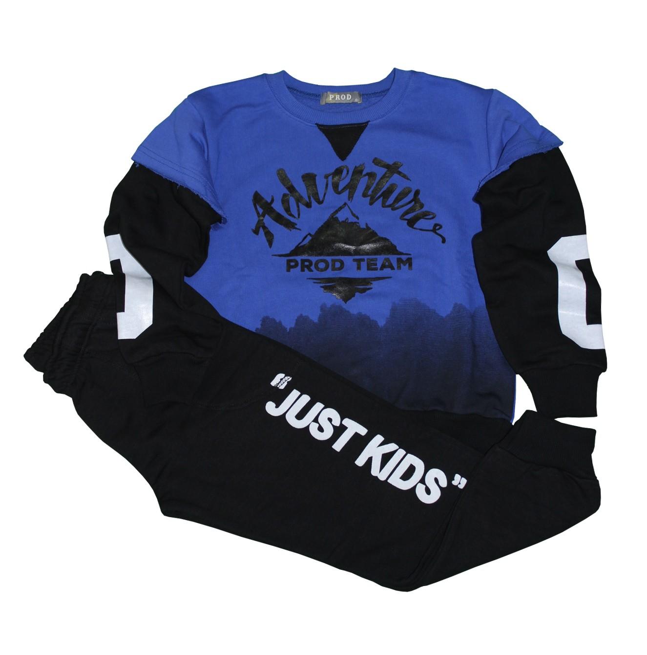 Σετ φόρμες μπλε-μαύρη μπλούζα με μαύρο παντελόνι και σχέδιο ADVENTURE PROD  63754 45f8f34e44d