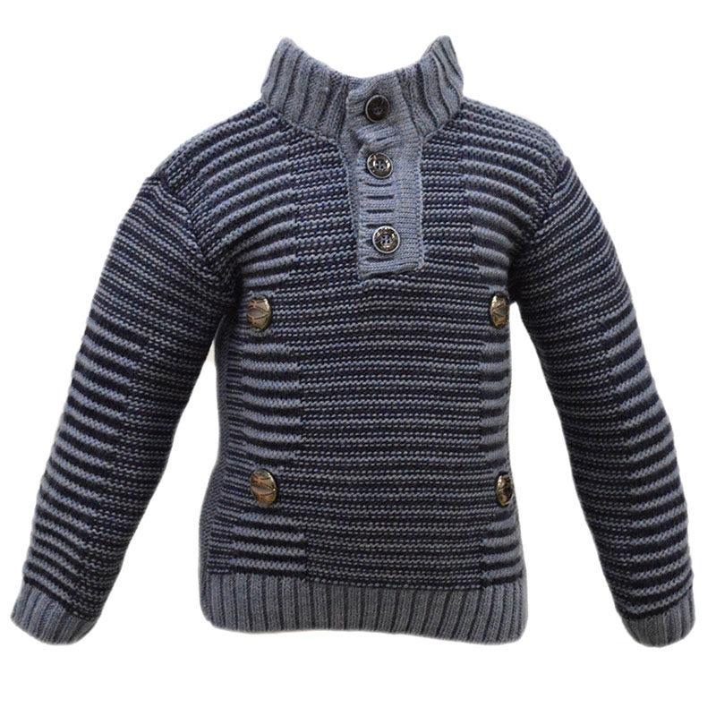 994e798b1211 Παιδικό πλεκτό πουλόβερ γαλάζιο-μπλε ριγέ – EXTANBEBE