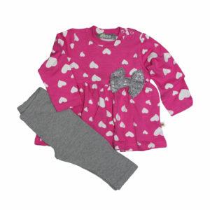 fbc34cfe6a3 Σετ μπλούζα ροζ με καρδούλες και φιόγκο και γκρι παντελόνι PROD 73035