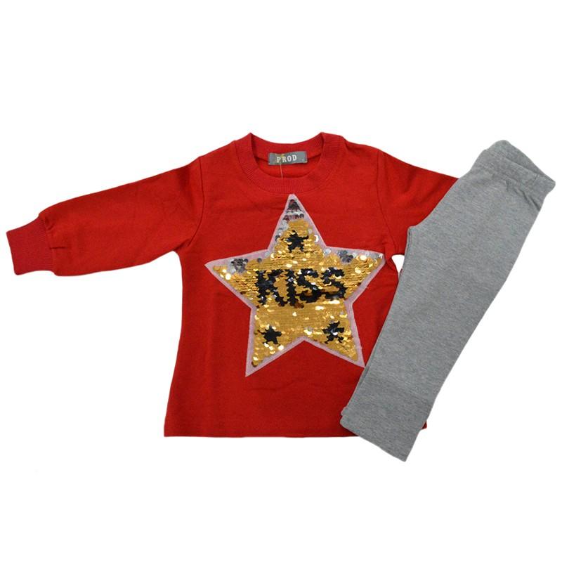 6289e240a5ba Σετ φόρμες κόκκινη μπλούζα γκρί παντελόνι σχέδιο Kiss PROD 53249RD
