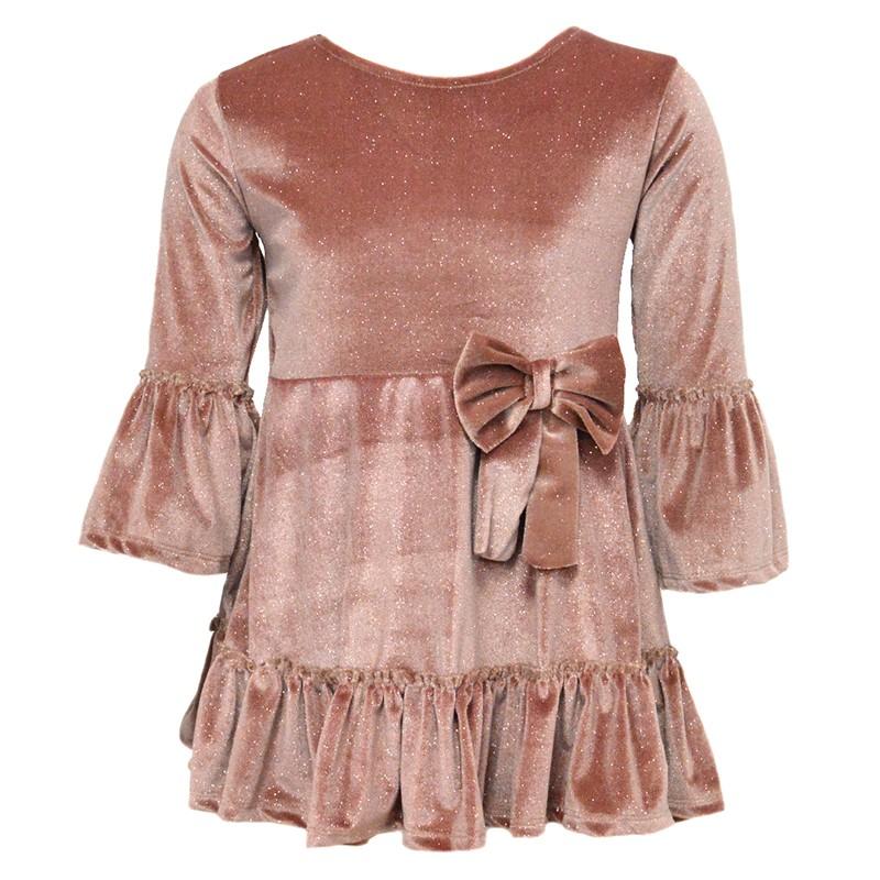 Φόρεμα βελούδινο ροζ με glitter και φιόγκο e75273d5308
