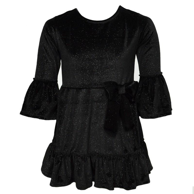 Φόρεμα βελούδινο μαύρο με glitter και φιόγκο 2c5a4189554