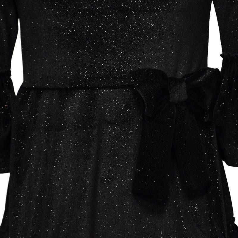 121fab8a4c70 Φόρεμα βελούδινο μαύρο με glitter και φιόγκο – EXTANBEBE