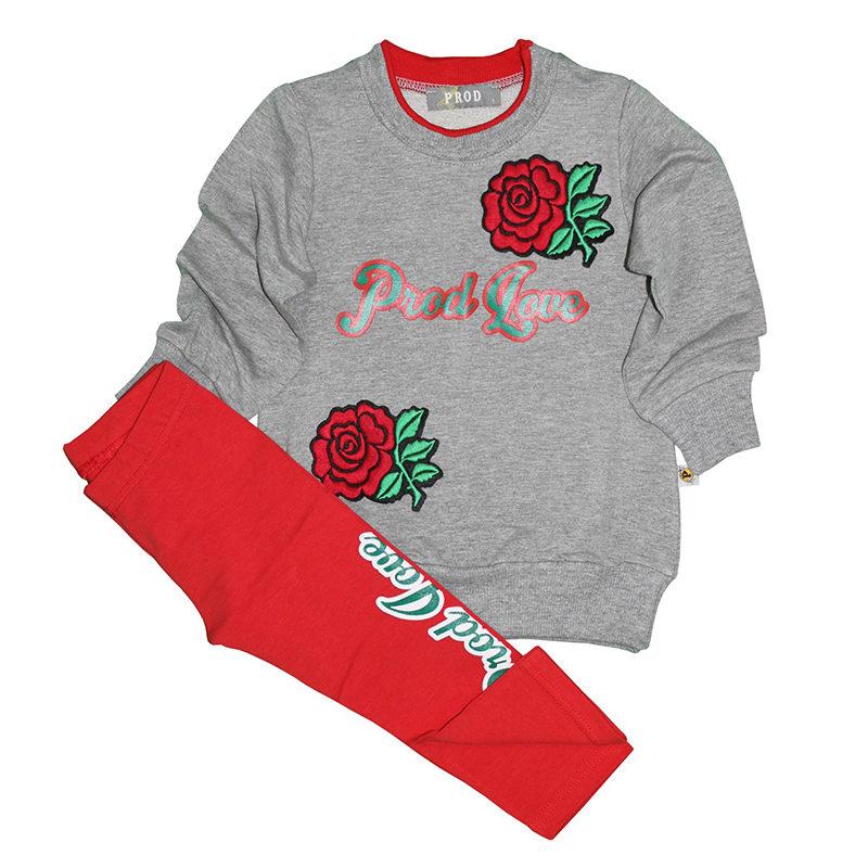 f557ee9556f Σετ φόρμες γκρι μπλούζα κόκκινο παντελόνι με σχέδιο τριαντάφυλλο PROD 53241