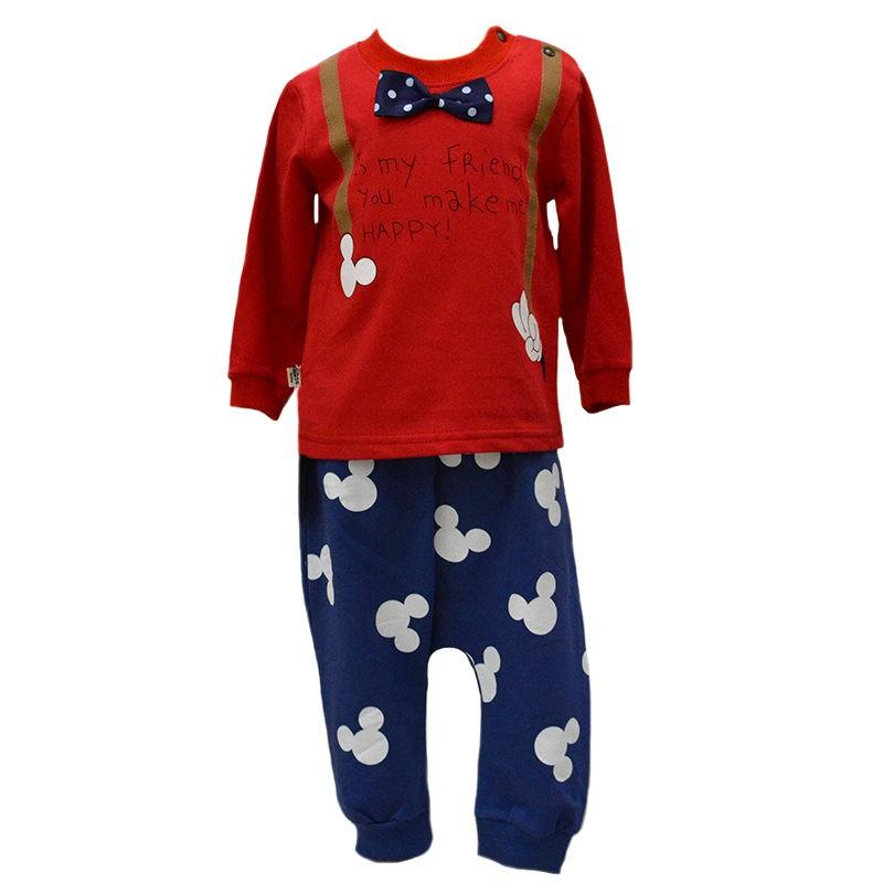 10aedd92ca3 Σετ φόρμες με πουά παπιγιόν κόκκινο μπλε γκρι – EXTANBEBE