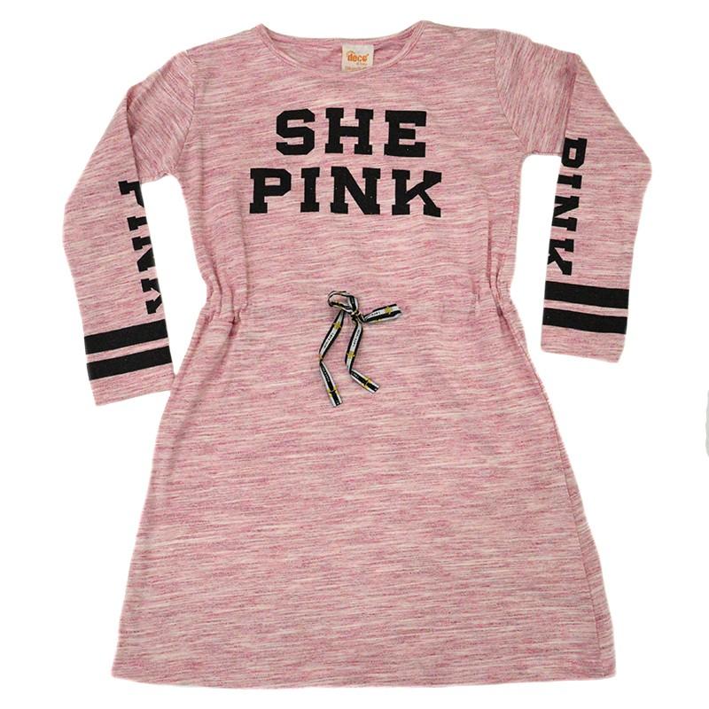 Φόρεμα ροζ μακρυμάνικο SHE PINK 70098506e7e