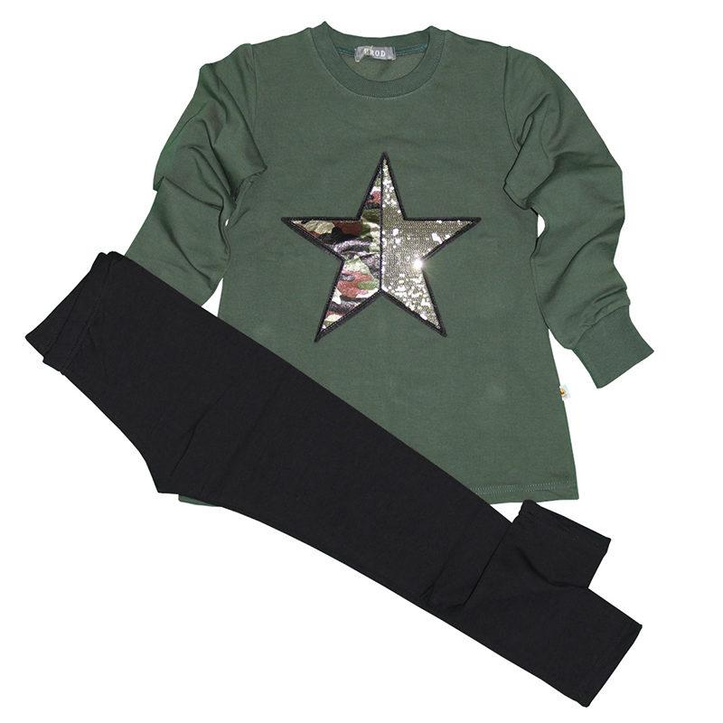 5357bdaf230 Σετ φόρμες χακί φούτερ μαύρο παντελόνι με αστέρι από παγιέτες PROD ...