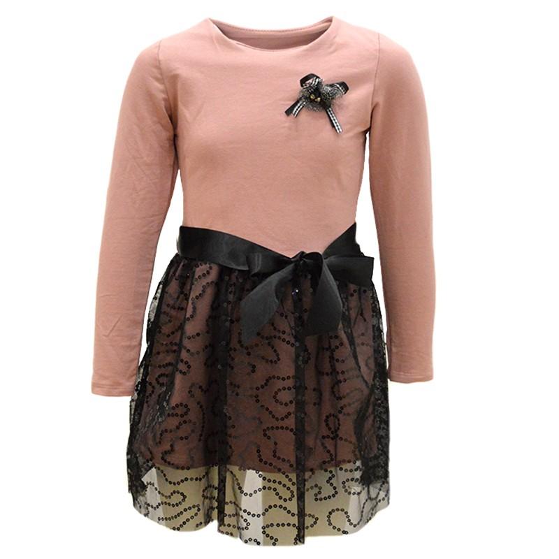 a1f7712d0b51 Φόρεμα ροζ μακρυμάνικο με μαύρη τούλινη φούστα με παγιέτες