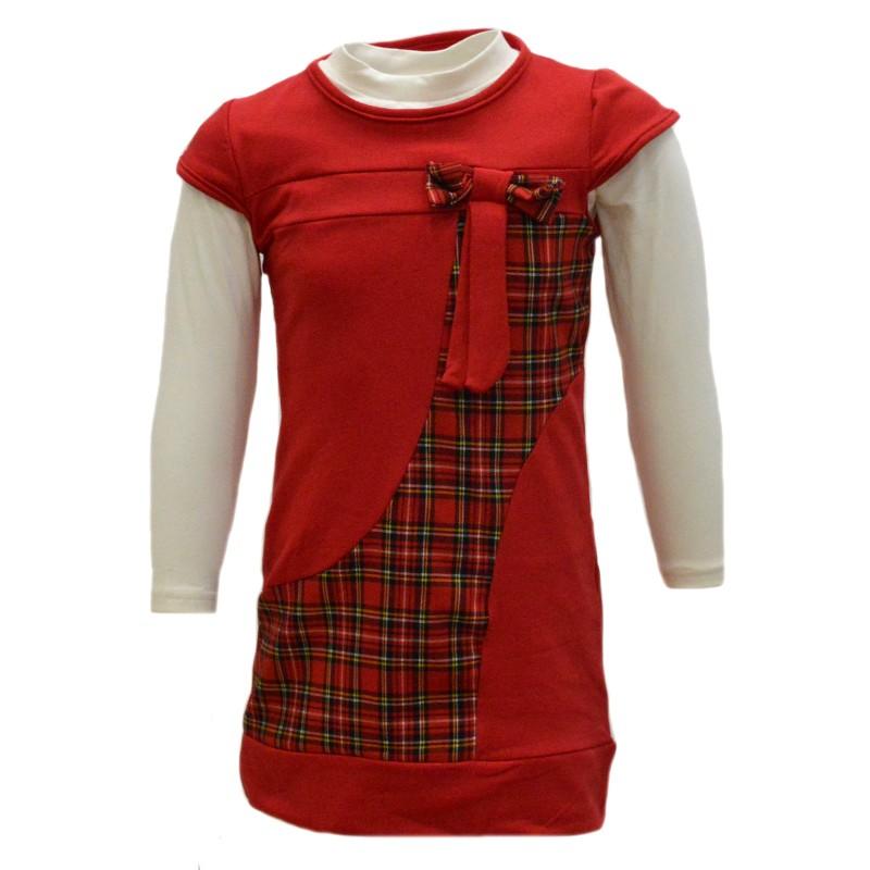 Φόρεμα κόκκινο καρό με μακρυμάνικο εκρού μπλουζάκι 888c9dcba38