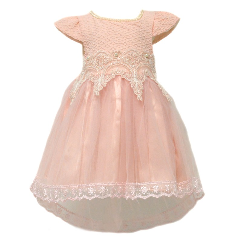 Φόρεμα ροζ με δαντελένια τρέσα με πέρλες στη μέση d97dccc262f