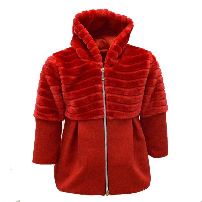 Παλτό κόκκινο με γουνάκι και κουκούλα – EXTANBEBE 8ff3090b30d