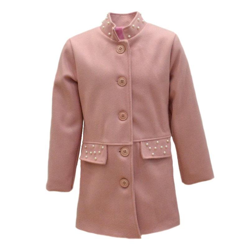2df79e4685a Παλτό ροζ με διακοσμητικές πέρλες