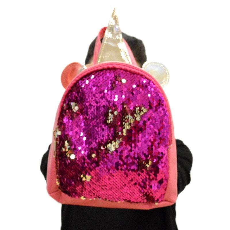 00e8b2e4485 Παιδική τσάντα πλάτης μονόκερος φούξια με παγιέτες