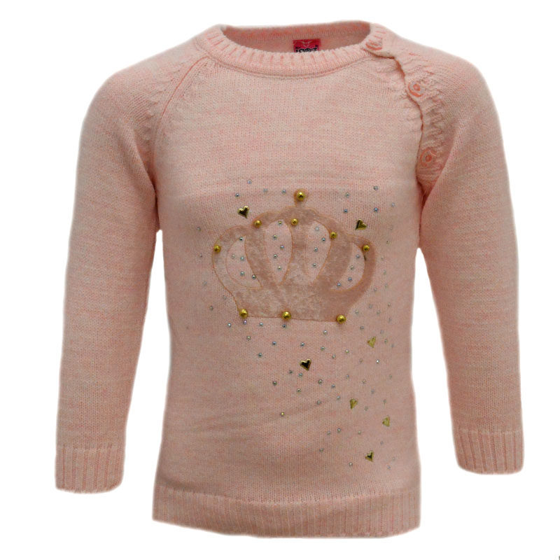 77e9695289c8 Πουλόβερ πλεκτό ροζ με σχέδιο κορώνα – EXTANBEBE
