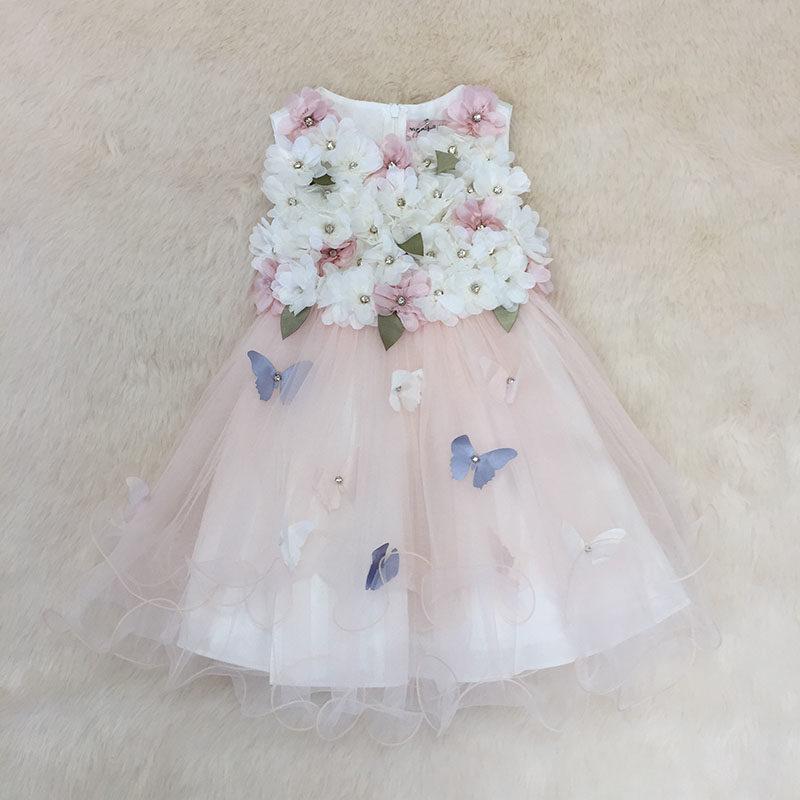 Φόρεμα αμπιγιέ με 3D λουλούδια σομόν με πέπλο – EXTANBEBE 4d7f834931b