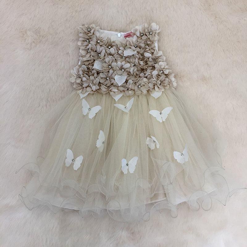 Φόρεμα αμπιγιέ με 3D λουλούδια Nude με πέπλο – EXTANBEBE fde0709f06e