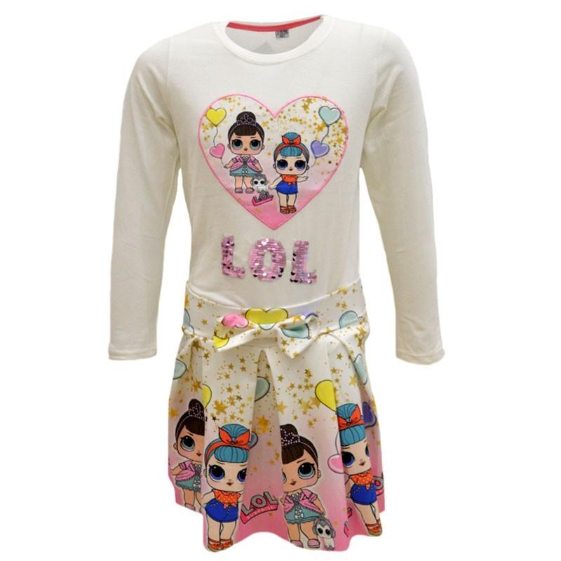 Σετ LOL φούστα με πιέτες και εκρού μπλούζα με σχέδιο καρδιά 8512248d63d