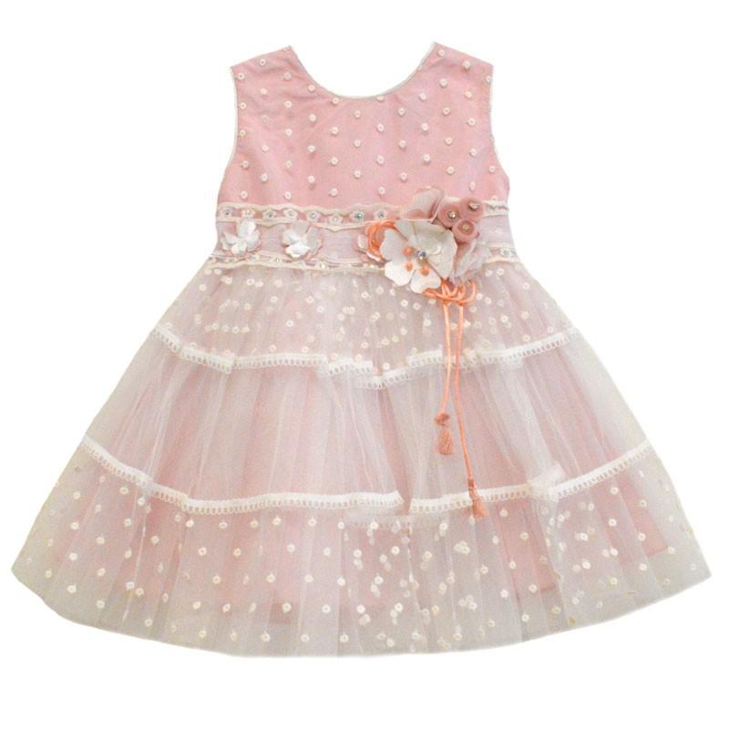 Φόρεμα ροζ αμάνικο με λευκό πουά τούλι 0a18f90c09c