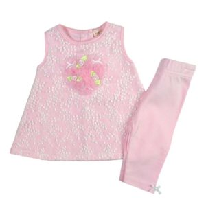 0c7e11b8841 Σετ μπλουζοφόρεμα ροζ με κέντημα και ροζ κολάν MINTINI BABY MB2436