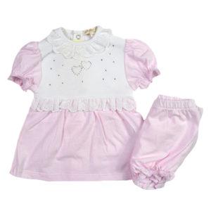 3410dff9370 Σετ μπλούζα ροζ-λευκή με βολάν και στρας και σορτς MINTINI BABY MB2631