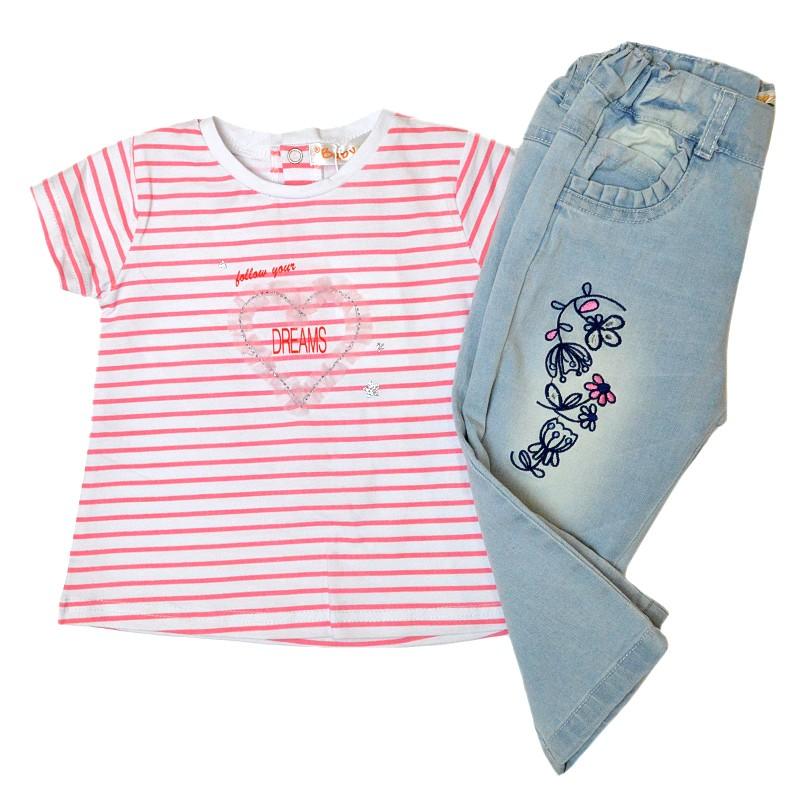 Σετ ριγέ μπλουζάκι-τζιν μακρύ παντελόνι με κέντημα BABYBOL 8d9682c04eb