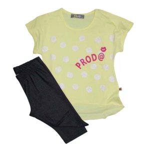 919beb292a4 Σετ μπλούζα κίτρινη κοντομάνικη πουά Glitter και κολάν γκρι σκούρο PROD