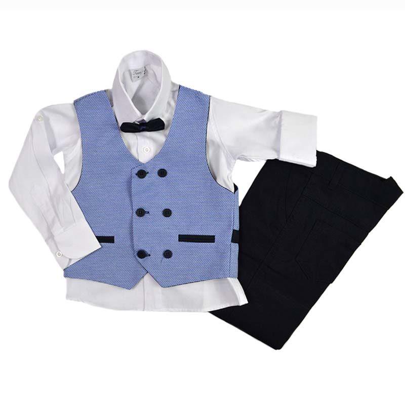 17ba4e12336 Κοστούμι με σιέλ γιλέκο και παπιγιόν